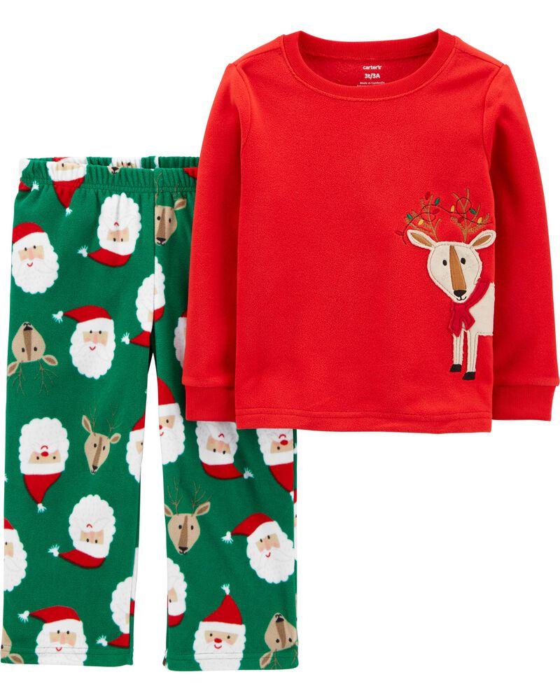 2-Piece Holiday Reindeer Fleece PJs, , hi-res