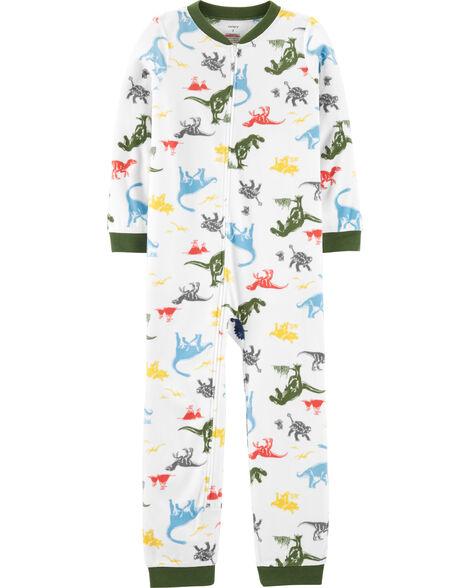 Pyjama 1 pièce en molleton sans pieds dinosaure