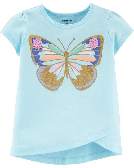 T-shirt en jersey à papillons et tulipes scintillants