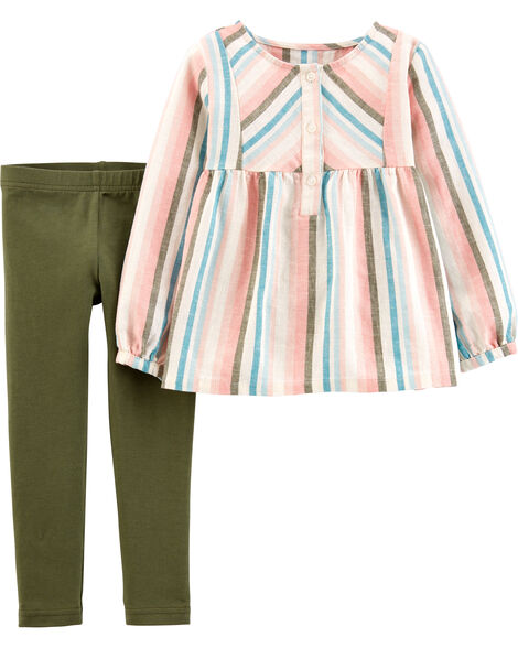 2-Piece Striped Linen Top & Legging Set