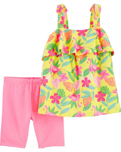 2-Piece Tropical Jersey Tank & Playground Short Set