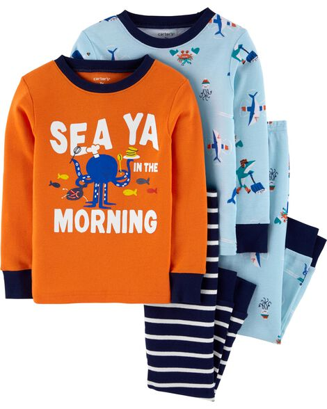4-Piece Sea Creatures Snug Fit Cotton PJs