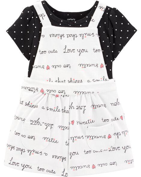 2-Piece Polka Dot Bodysuit & Skirtall Set