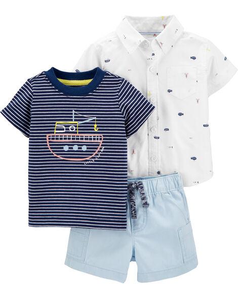 Ensemble 3 pièces chemise et short à sous-marin