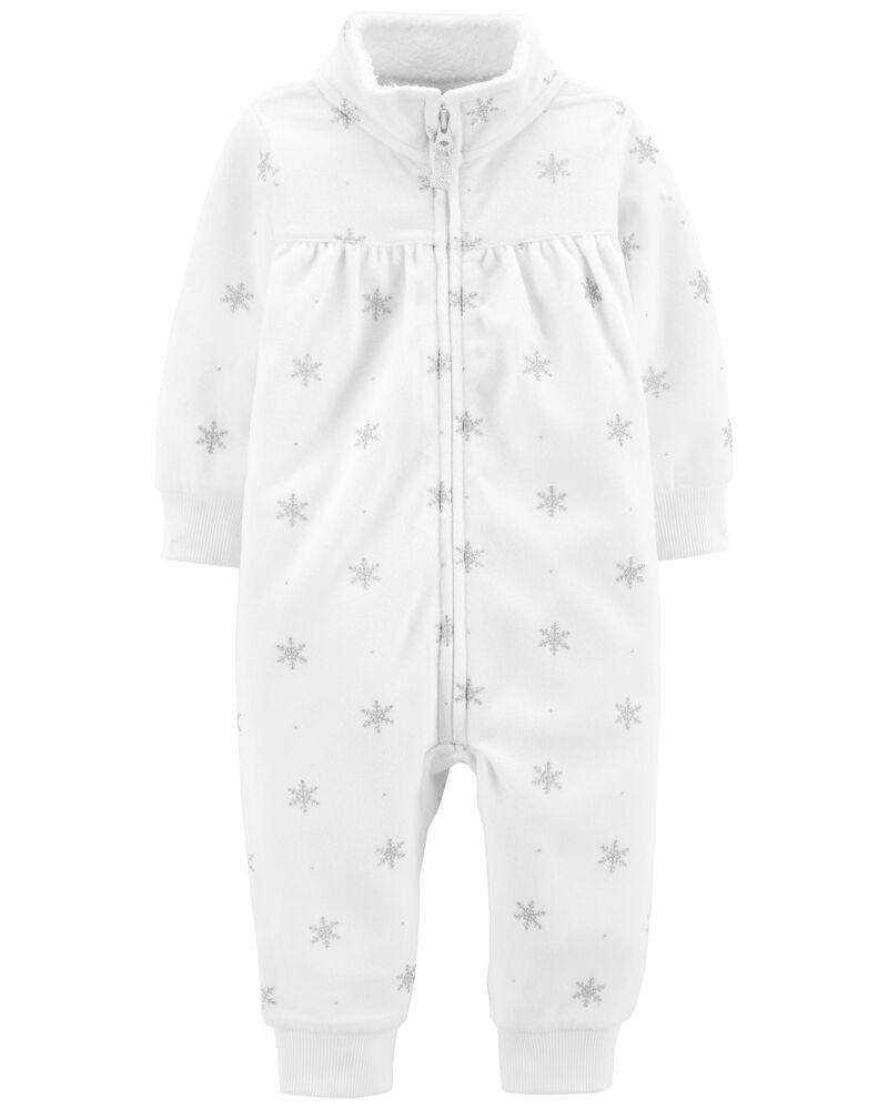 Polka Dot Zip-Up Fleece Jumpsuit, , hi-res