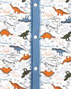 Pyjama 1 pièce sans pieds en coton ajusté à dinosaure, , hi-res