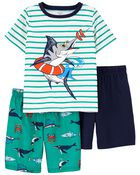 Pyjama 3 pièces de coupe ample à poissons, , hi-res