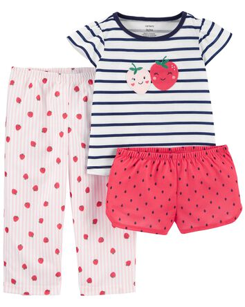 3-Piece Strawberry Loose Fit PJs