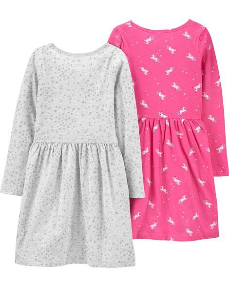 2-Pack Unicorns & Stars Jersey Dresses