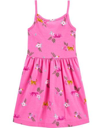Floral Ruffle Tank Jersey Dress