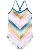 Rainbow Stripe One Piece Swimsuit, , hi-res