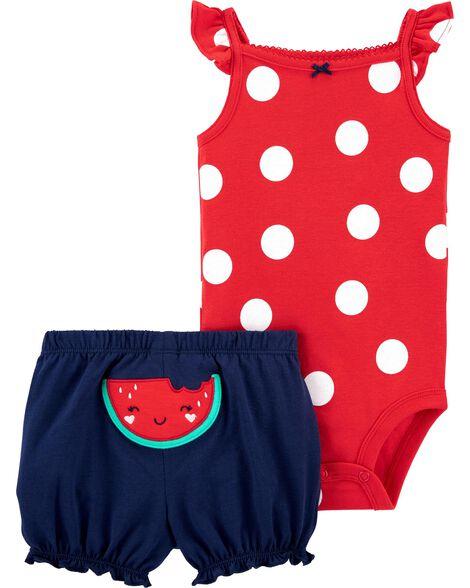2-Piece Polka Dot Bodysuit Short Set