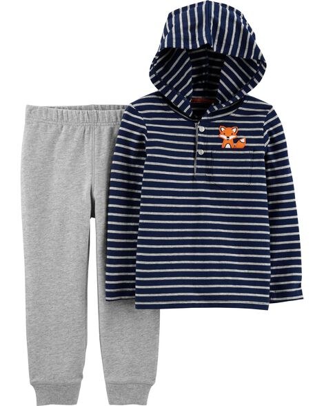 2-Piece Striped Hooded Tee & Jogger Set