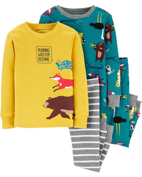 4-Piece Woodland Creatures Snug Fit Cotton PJs
