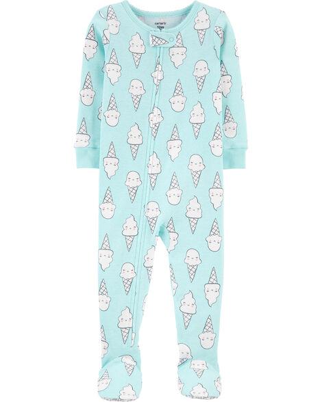 Pyjama 1 pièce à pieds en coton ajusté motif crème glacée