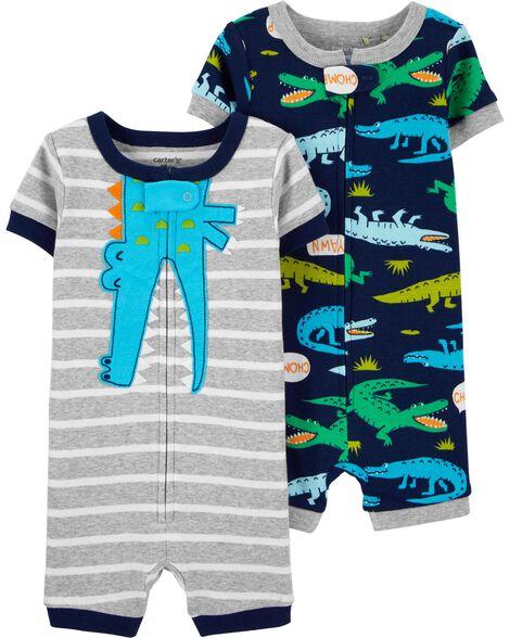 Emballage de 2 pyjamas barboteuses en coton ajusté motif alligator