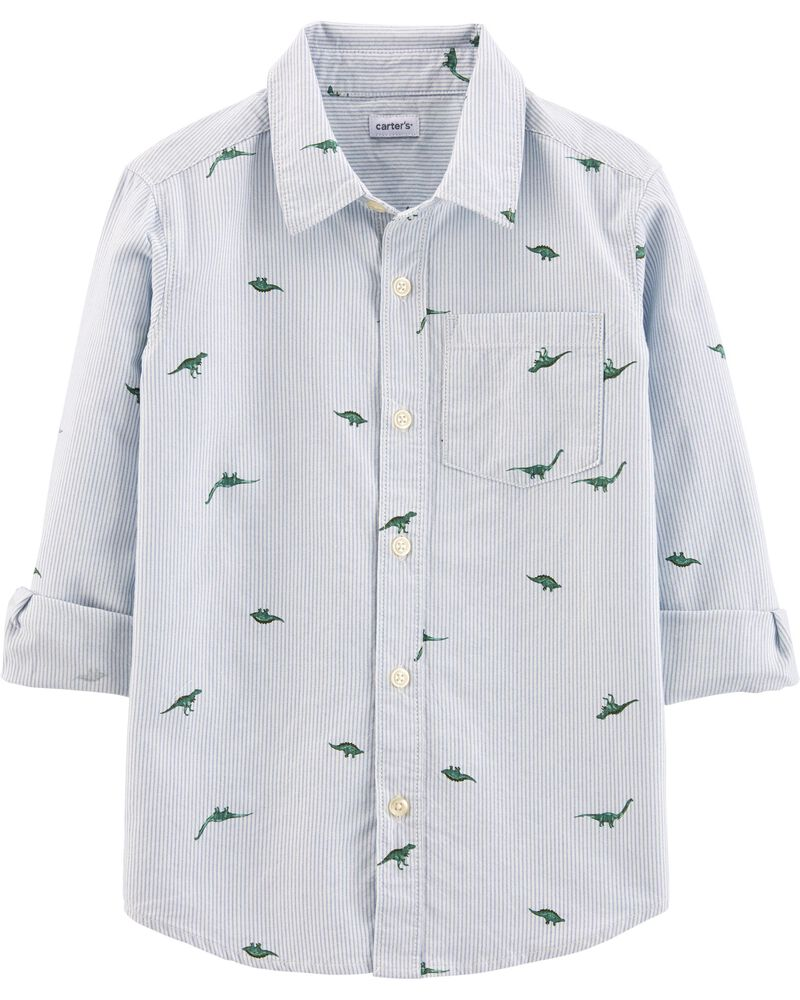 Striped Dinosaur Button-Front Shirt, , hi-res
