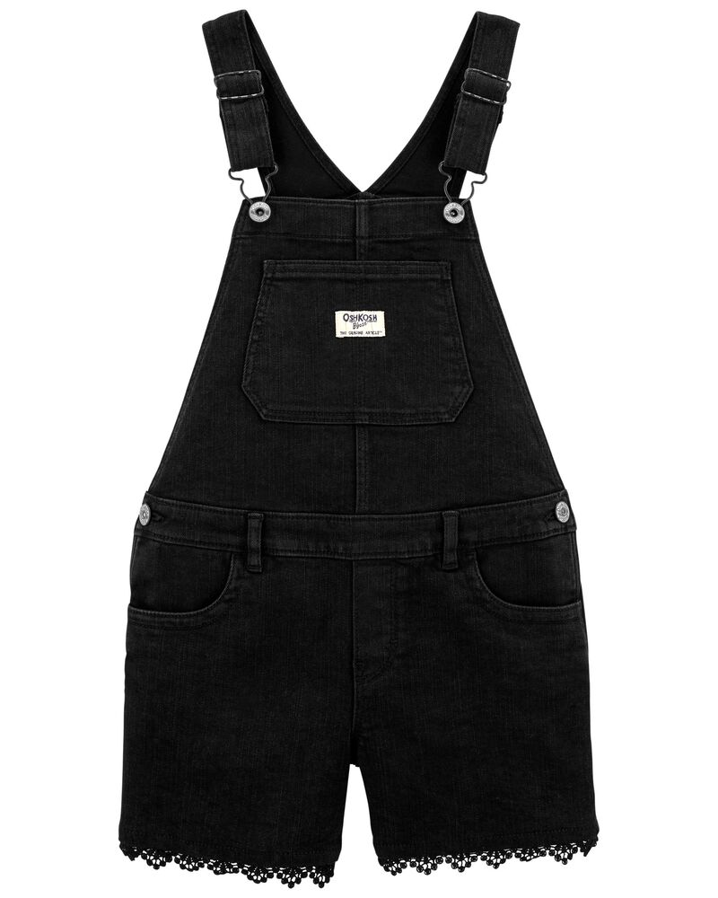 Knit Denim Shortalls in Black Enzyme Wash, , hi-res