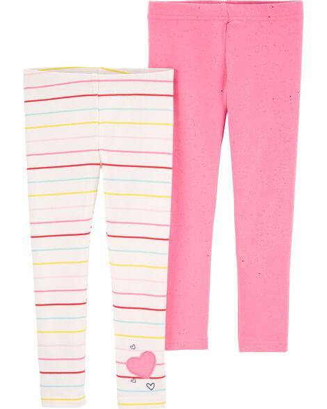 2-Pack Hearts & Stripes Leggings