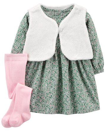 3-Piece Fuzzy Vest & Dress Set