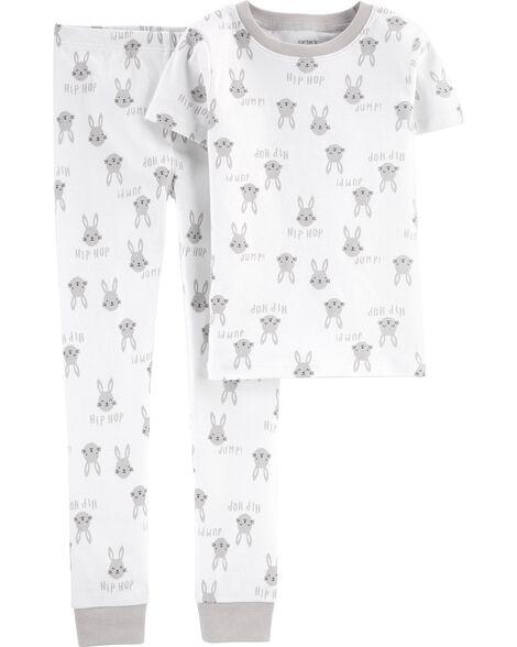 Pyjama 2 pièces en coton ajusté lapin