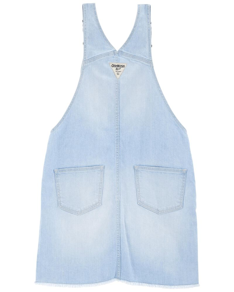 Robe chasuble en denim extensible à bord effiloché, , hi-res