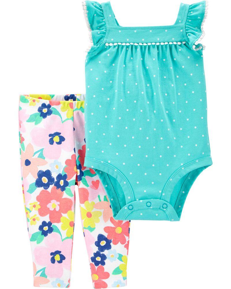 2-Piece Polka Dot Bodysuit Pant Set, , hi-res