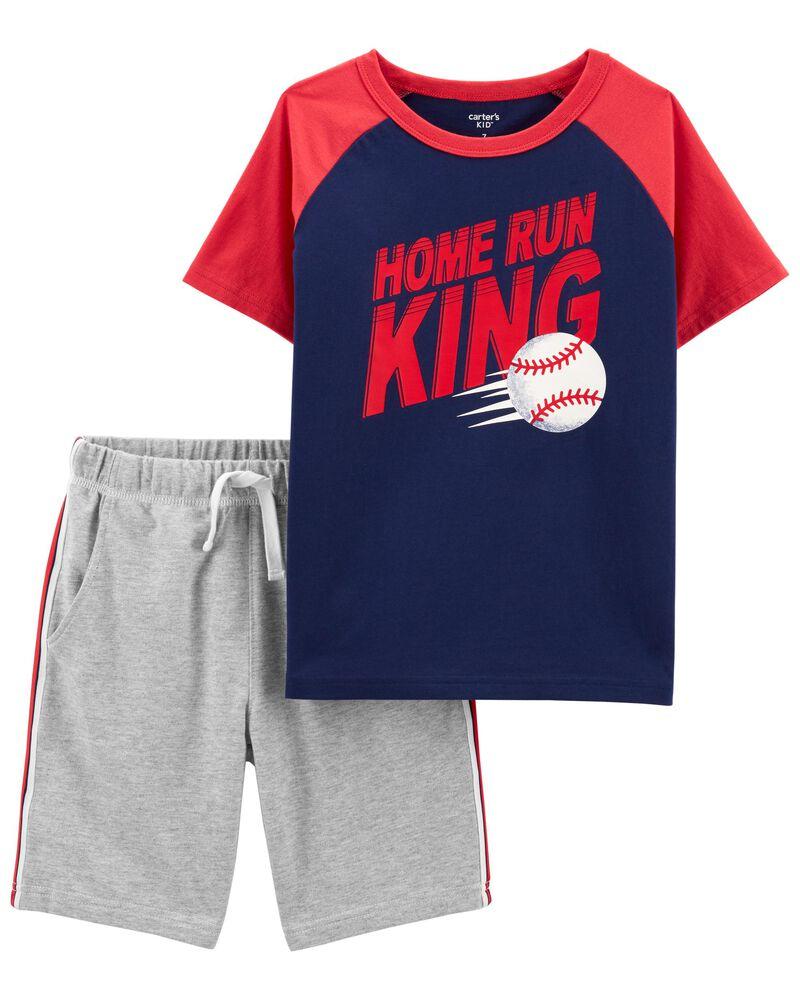 2-Piece Baseball Tee & Short Set, , hi-res
