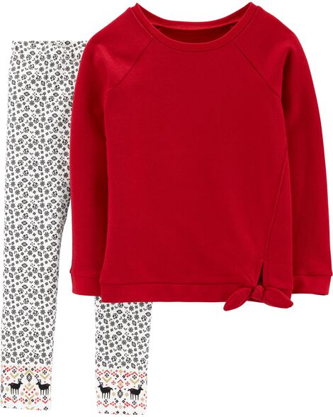 2-Piece Fleece Top & Floral Legging Set