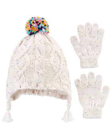 2-Pack Cable Knit Hat & Mittens Set