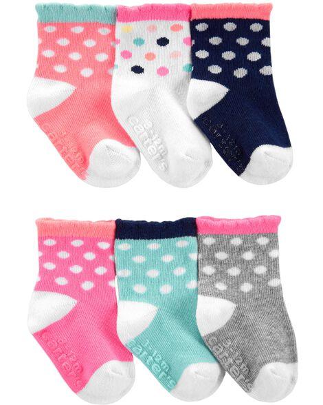 6 paires de chaussettes mi-mollet à pois