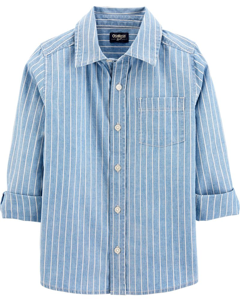 Chambray Stripe Button-Front Shirt, , hi-res
