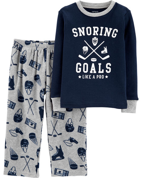 2-Piece Hockey Snug Fit Cotton & Fleece PJs