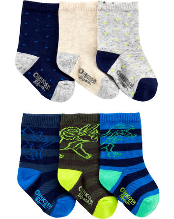 6-Pack Dinosaur Crew Socks