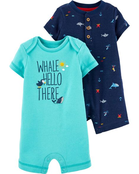 2-Pack Whale & Shark Rompers