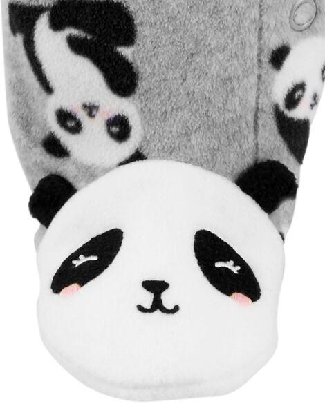 Grenouillère en molleton à boutons-pression motif panda