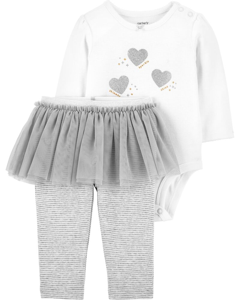 2-Piece Glitter Heart Bodysuit & Tutu Pant Set, , hi-res