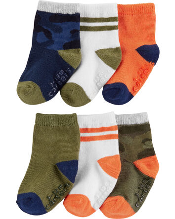 6-Pack Camo & Stripe Crew Socks