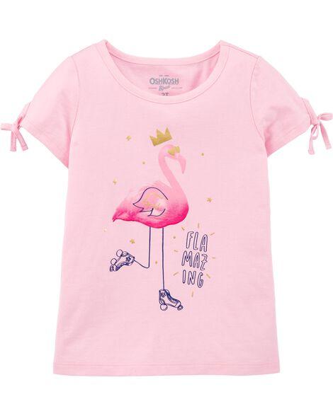 T-shirt à nœud devant avec flamant rose