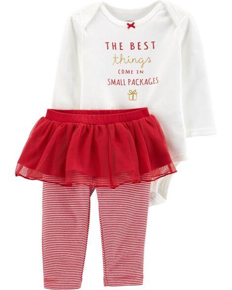 2-Piece Holiday Bodysuit & Tutu Pant Set