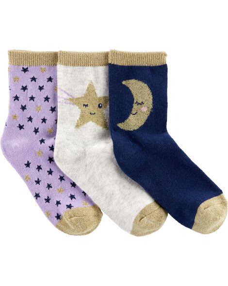 3 paires de chaussettes mi-mollet à motif d'étoiles et de lunes