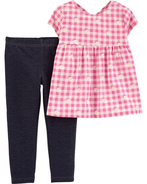 2-Piece Floral Gingham Top & Knit Denim Leggings