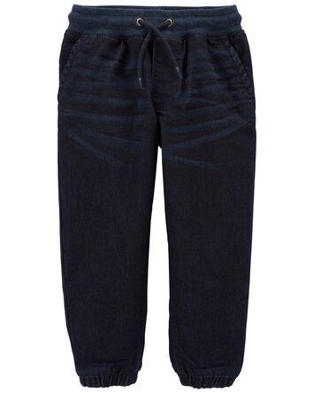 Pull-On Knit Denim Joggers