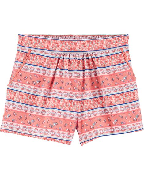 Floral Pom Pocket Pull-On Shorts