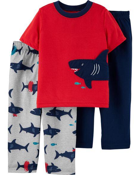 Pyjama 3 pièces en polyester à pieds motif requin