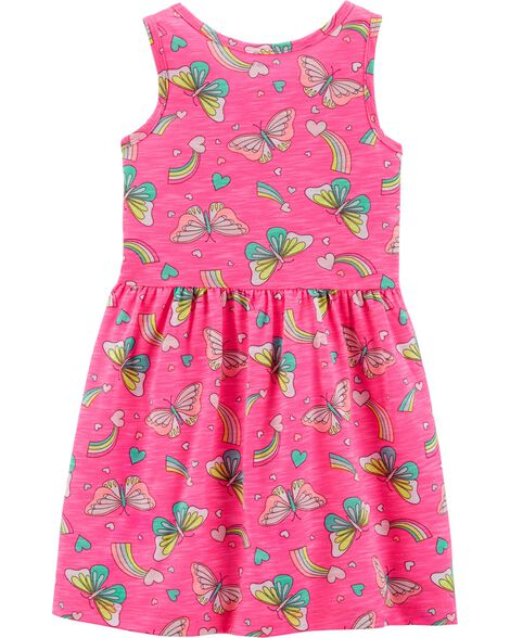 Neon Ruffle Butterfly Dress