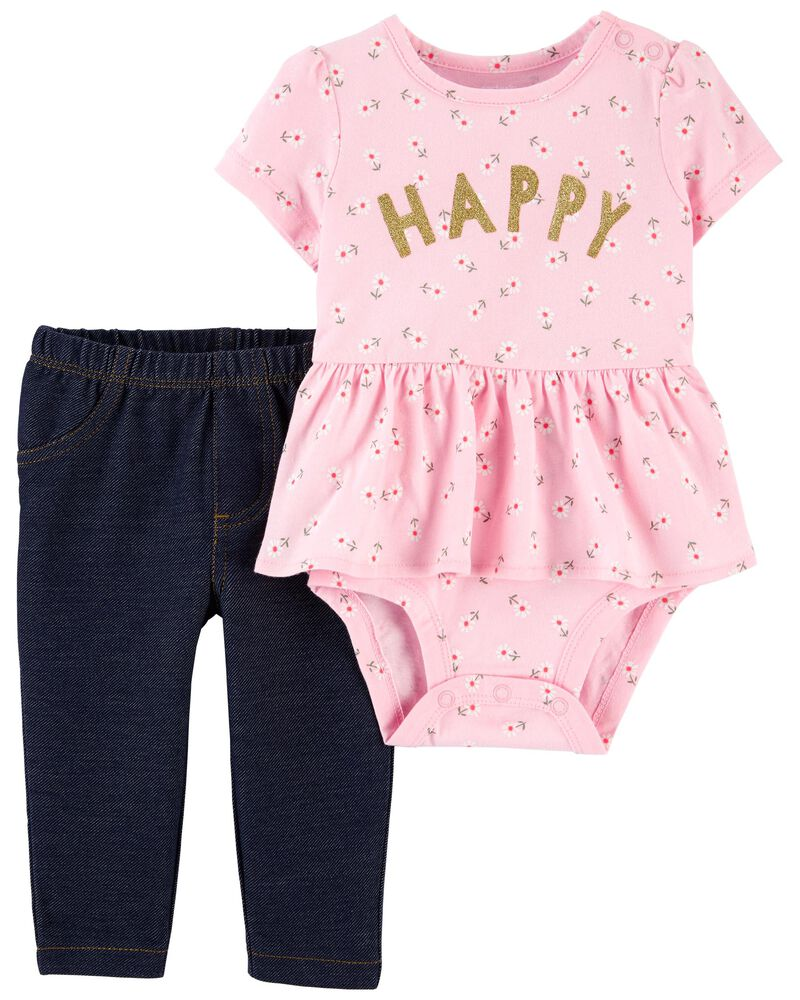 2-Piece Happy Peplum Bodysuit Pant Set, , hi-res