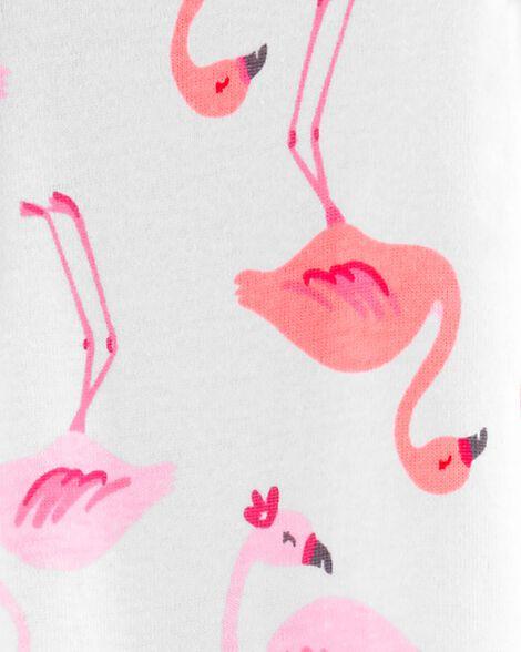 Pyjama 1 pièce sans pieds en coton ajusté motif flamants