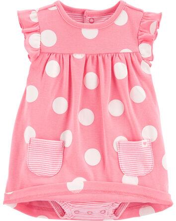 2-Piece Polka Dot Bodysuit Dress &...