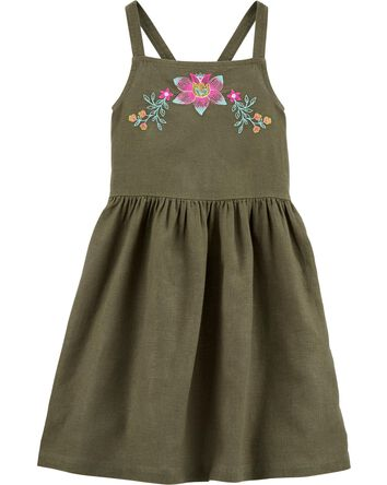 Embroidered Floral Linen Dress